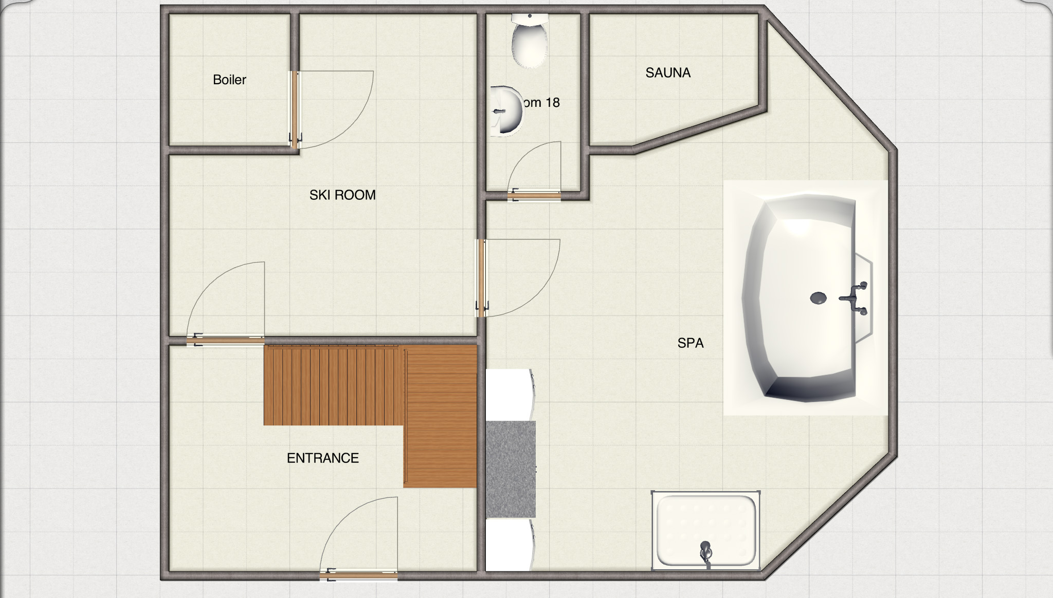 The ground floor with entrance hall  - round to ski and boot room to Spa with Jacuzzi , sauna, shower and toilet. Stairs going up to the upper ground floor.